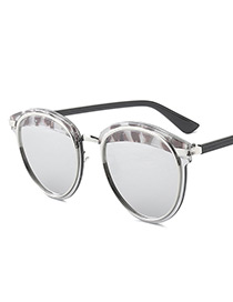 Vintage Gray Color-matching Decorated Sunglasses