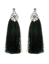 Bohemia Dark Green Flower Shape Decorated Tassel Earrings