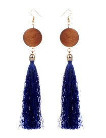 Fashion Sapphire Blue Tassel Decorated Earrings