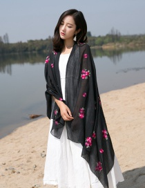 Fashion Black Flower Pattern Decorated Scarf