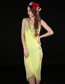 Fashion Light Yellow Pure Color Decorated Dreess