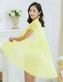 Fashion Light Yellow Pure Color Decorated Sunscreen Shirts