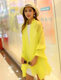 Fashion Light Yellow Pure Color Decorated Scarf