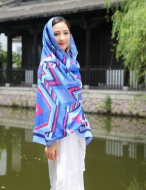 Fashion Blue+plum Red Geometry Decorated Scarf