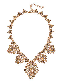 Fashion Champagne Pure Color Decorated Necklace
