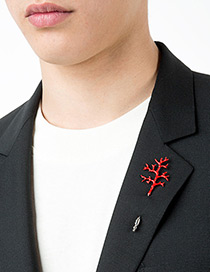 Fashion Red Coral Shape Decorated Brooch