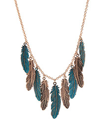 Fashion Antique Gold Feather Decorated Necklace