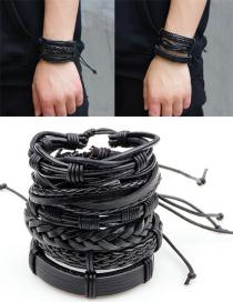 Fashion Black Pure Color Decorated Bracelet