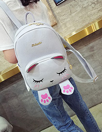Fashion Gray Cat Shape Decorated Backpack