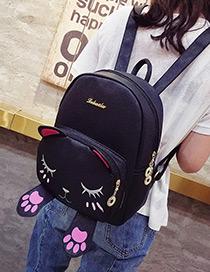Fashion Black Cat Shape Decorated Backpack