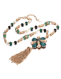 Fashion Gold Color Tassel&pearl Decorated Necklace