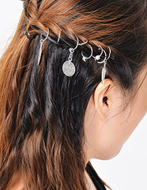 Fashion Antique Silver Leaf&wafer Shape Decorated Hairpin