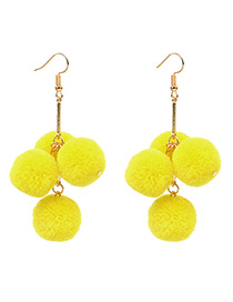 Fashion Yellow Ball Shape Decorated Pom Earrings