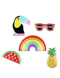 Fashion Multi-color Pineapple&glasses Shape Decorated Brooch (5pcs)