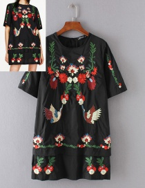 Fashion Black Crane&flower Pattern Decorated Dress