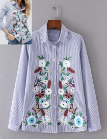Fashion Blue+white Flower Pattern Decorated Shirt
