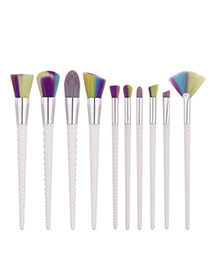Trendy White Sector Shape Decorated Simple Makeup Brush(10pcs)