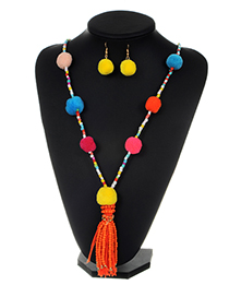 Fashion Multi-color Bead Decorated Pom Necklace