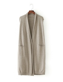 Fashion Khaki Pure Color Decorated Leisure Vest