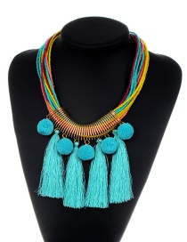 Fashion Blue Tassel&fuzzy Ball Decorated Necklace
