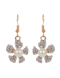 Fashion Gold Color Flower Shape Decorated Simple Earrings