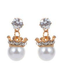 Fashion Gold Color Diamond&pearl Decorated Simple Earings