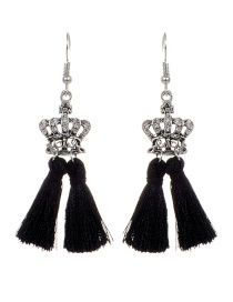 Fashion Black Crown&&tassel Decorated Earrings