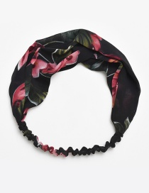 Fashion Black Flower Pattern Decorated Hair Band