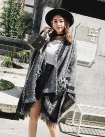 Fashion Black+white Tassel Decorated Simple Thicker Shawl