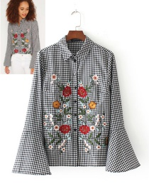 Fashion Black+white Embroidery Flower Decorated Long Sleeves Shirt