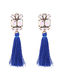 Elegant Blue Tassel&diamond Decorated Simple Earrings
