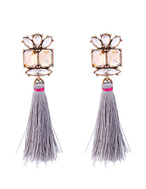 Elegant Gray Tassel&diamond Decorated Simple Earrings