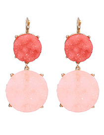Fashion Pink Round Shape Diamond Decorated Earrings