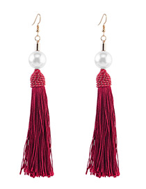 Vintage Claret Red Pearls&tassel Decorated Earrings
