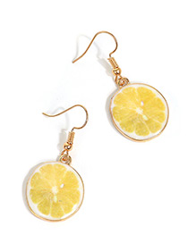 Sweet Yellow Citrus Junos Pendant Decorated Short Earrings