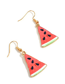 Sweet Red Watermelon Pendant Decorated Short Earrings