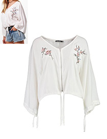 Fashion White V Neckline Decorated Long Sleeves Blouse