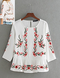 Fashion White Round Neckline Design Three-quarter Sleeves Shirt