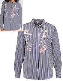 Vintage Navy Embroidery Flower Decorated Long Sleeves Shirt