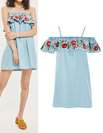 Retro Blue Off The Shoulder Decorated Dress