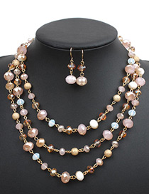 Fashion Pink Beads Decorated Multi-layer Jewelry Sets