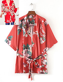 Trendy Red Flower Pattern Decorated Short Sleeves Kimono