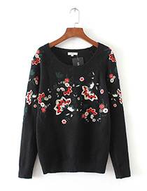 Trendy Black Embroidery Flower Decorated Long Sleeves Sweater