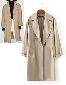 Trendy Khaki Pure Color Decorated Long Sleeves Coat