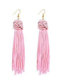 Vintage Pink Long Tassel Decorated Pure Color Earrings