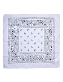Bohemia White Color-matching Decorated Tassel Sqaure Scarf