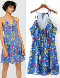 Fashion Blue Flower Pattern Decorated V Neckline Dress