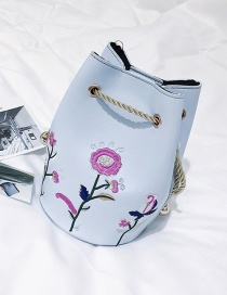 Fashion Light Blue Embroidery Flower Decorated Bucket Shape Shoulder Bag