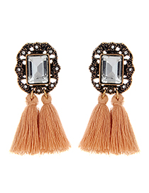 Fashion Khaki Square Shape Diamond Decorated Tassel Earrings