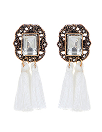 Fashion White Square Shape Diamond Decorated Tassel Earrings